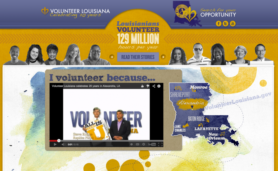 Volunteer Louisiana updated the microsite to celebrate 20 years