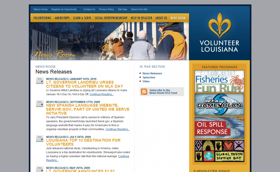 The news and events section of the Volunteer Louisiana website