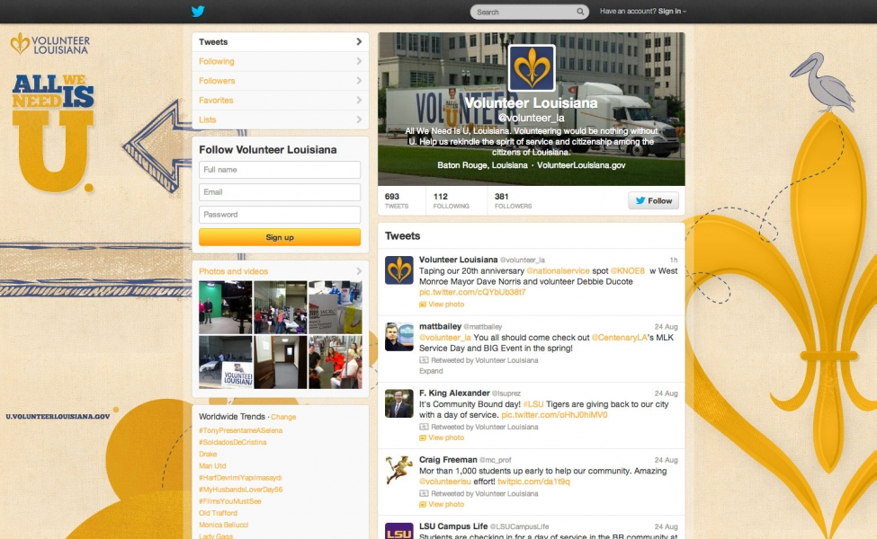 The campaign included a custom Twitter design