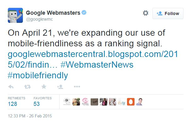 Google Webmasters Mobile-Friendly Tweet