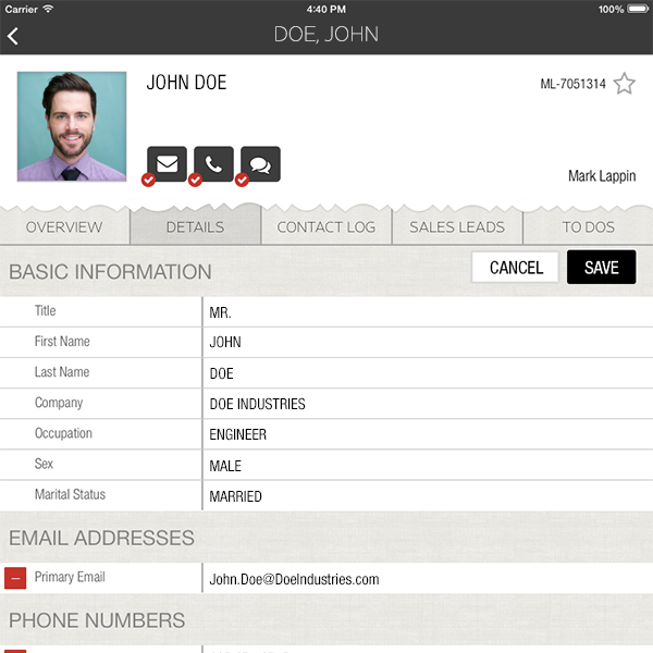 Jewelry Retail Sales CRM iPad Screenshot