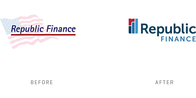 Republic Finance Logo Design Before and After