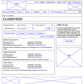 LHSAA website design wireframes