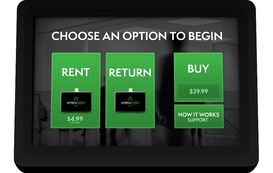 MobileQubes Kiosk Screen 1: Choose whether to Rent, Return, or Buy a Qube