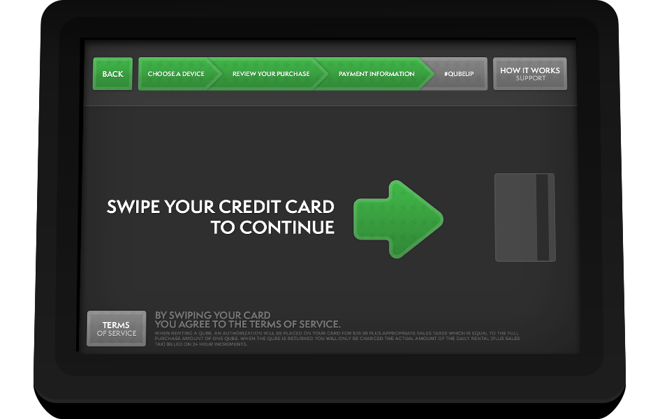 MobileQubes Kiosk Screen 6: Process credit card payment
