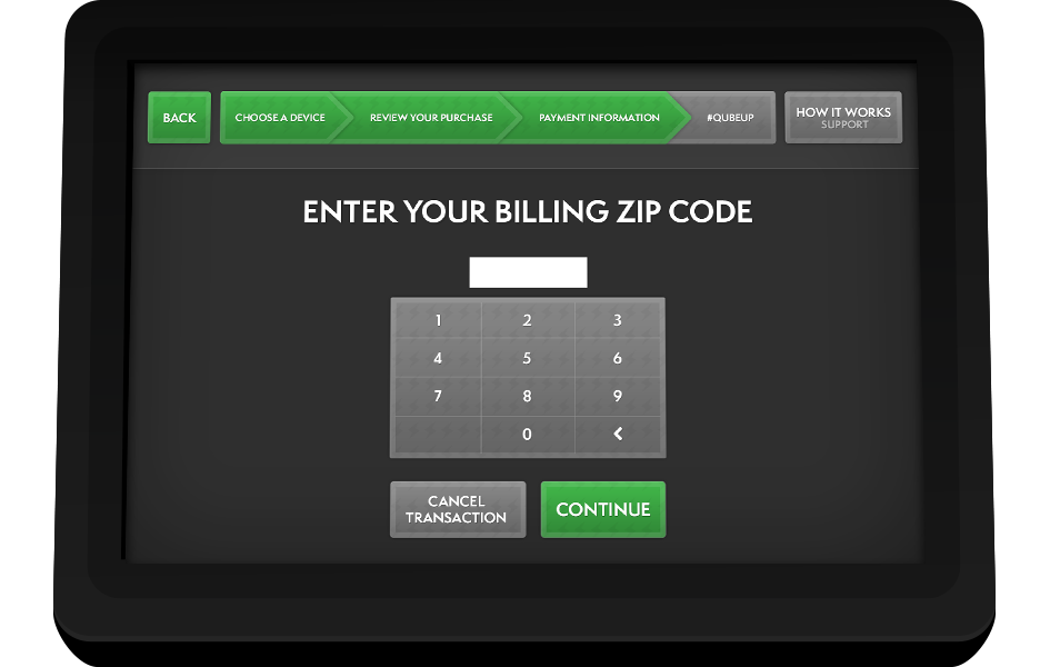MobileQubes Kiosk Screen 7: Enter Zip code