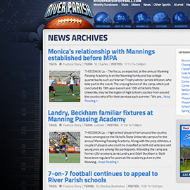 River Parish Football News Archive Design