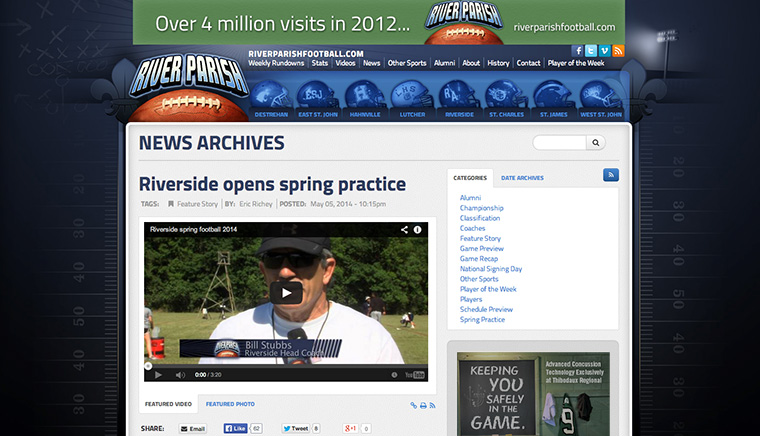 River Parish Football News Archive Page Design
