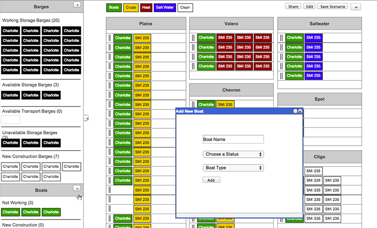 Settoon Towing Barge Planning Software Wireframe